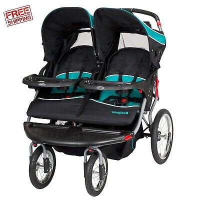 Double Jogger Stroller Speaker Baby Trend Twins Push Chair Infant Seat Foldable