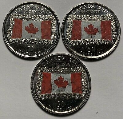 Lot of 3 - Canada 2015 Flag 50th Anniversary 25 Cents Coins - Queen Elizabeth II