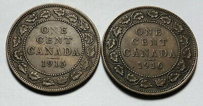 Lot of 2 - Canada 1915 & 1916 Large One Cent Coins - King George V