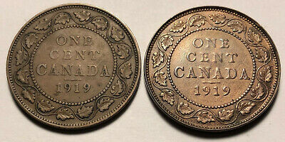 Lot of 2 - Canada 1919 Large One Cent Coins - King George V