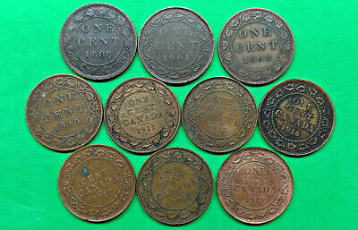 Lot of 10 Different Old Canada Large Cent Coins 1888-1919  !!