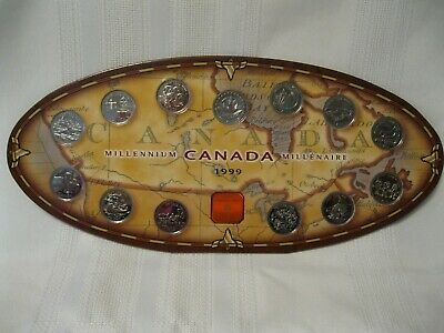 Canada 1999 Millennium Quarter Thirteen Coin Set with Card