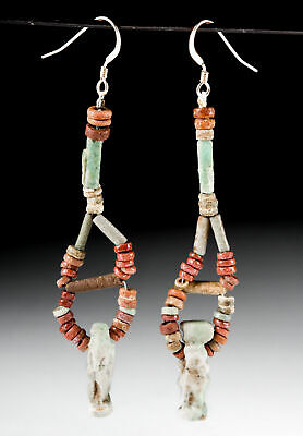 Egyptian Faience Bead Earrings - Thoth & Tauret Amulets
