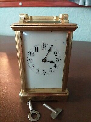 """Antique French brass and 5-glass """"Louis XV Doucine"""" cased carriage clock & KEY."""