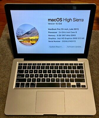"2011 Apple MacBook Pro 13"" 2.4Ghz i5 8GB RAM 750GB HDD  Works 100%"