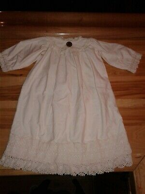 Vintage Handmade White Cotton Christening Gown w/ 3 rows of Lace Trim