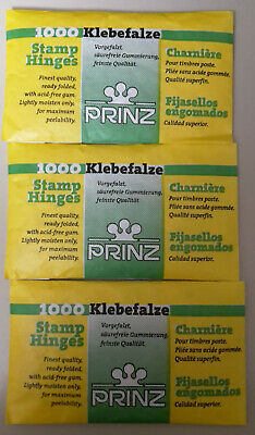 x3000 PRINZ STAMP HINGES. THREE PACKETS UNOPENED POST FREE.  (3 x 1000) PACKETS.