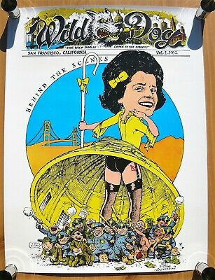 R. Crumb Wild Dogs Poster in Original Mailing Tube & Flyer 1985  - Mint