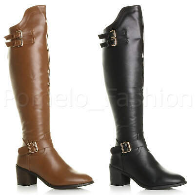 Womens Ladies Low Mid Block Heel Zip Buckle Pirate Riding Over Knee Boots Size