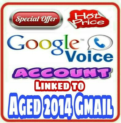 Google Voice Account attached to Aged 2014 Old Gmail Account - USA Phone No