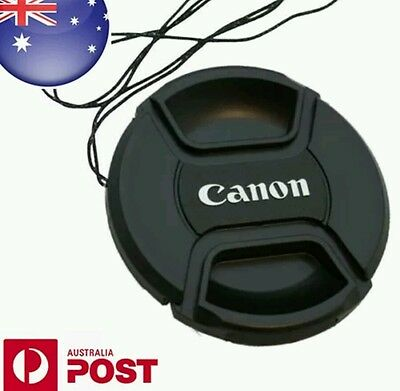 CANON LENS CAP 52,55,58,62,67,72,77,82mm Camera Snap-on Lense Cap Cover + Cord""
