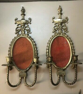 2 Antique Victorian Heavy Solid Brass Double Arm Candelabras Wall Sconce Japan