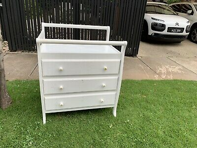Super Sturdy Change Table With 3 Drawers TallBoy - white, solid timber