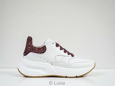 New in Box Alexander McQueen White & Pink Glitter Sneakers 586413