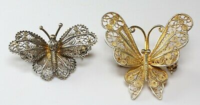 Pair of Antique Vintage Art Deco 800 Sterling Silver Filigree Butterfly Brooch
