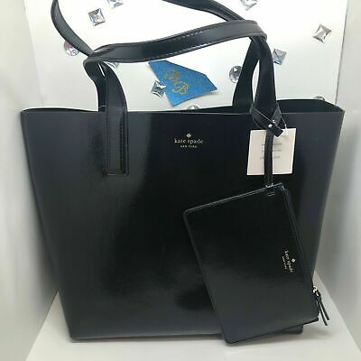 Kate Spade ARCH PATENT Leather BLACK/GREEN REVERSIBLE Tote + Pouch WKRU6145