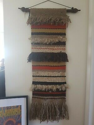 Vintage Hand Knotted Woven wool Wall Art Hanging mcm retro