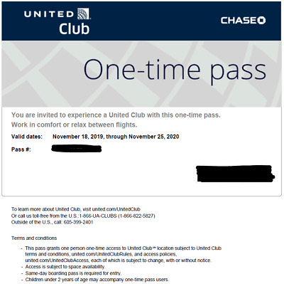 United Airlines UA Club One-Time Pass E-Delivery in 2 hours (Expires Nov 2020)