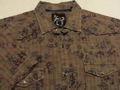 Age of Wisdom Mens Large Short Sleeve Pearl Snap Multicolor Floral Western Shirt