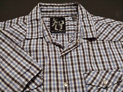 Age of Wisdom Mens Large Short Sleeve Pearl Snap Multicolor Plaid Western Shirt