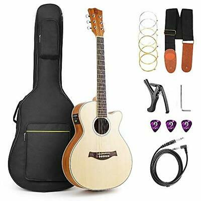 Acoustic Guitar Electric Cutaway 36 Inch 3/4 Travel Guitar Kit with Truss Rod NE