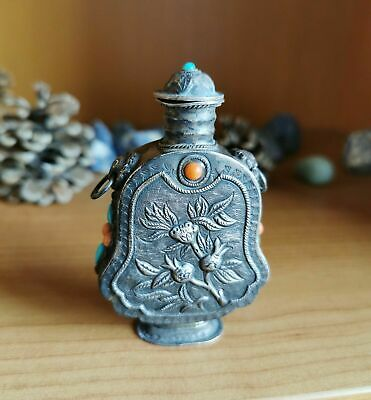 Chinese Snuff Bottle Sterling Silver Antique with Red Coral & Turquoise Gemstone