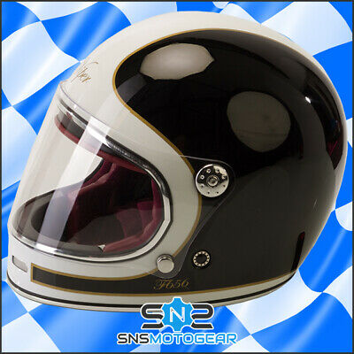Viper F656 Vintage Full Face Fibreglass Classic Motorcycle Helmet - Black/White