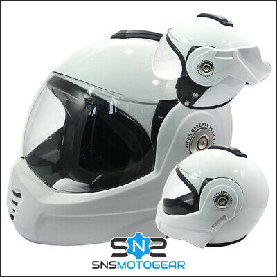 Viper RS-202 Reverse Flip-Up Motorcycle Motorbike Helmet - Gloss White