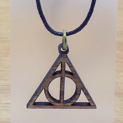 Great Wooden Harry Potter Deathly Hallows Hogwarts Pendant & Black Cord Necklace