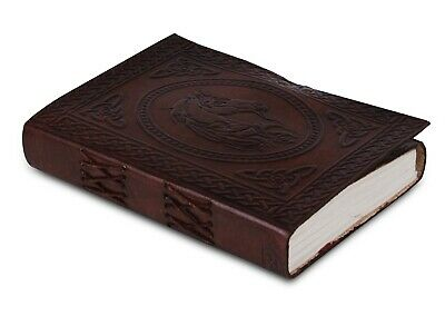 """Embossed Leather Blank Book 5 """"x 7"""" Journal w/ Latch Lock & Key Diary 200 pages"""