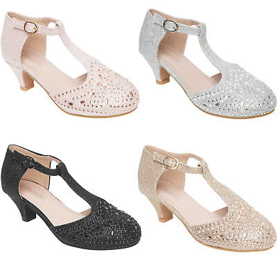 Girls Childrens High Mid Heel Diamante Party Shoes Kids Bridesmaid Sandals Size