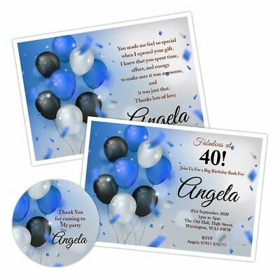 PERSONALISED BIRTHDAY THANK YOU CARDS 40TH 50TH 5PACK BALLOON FIZZ