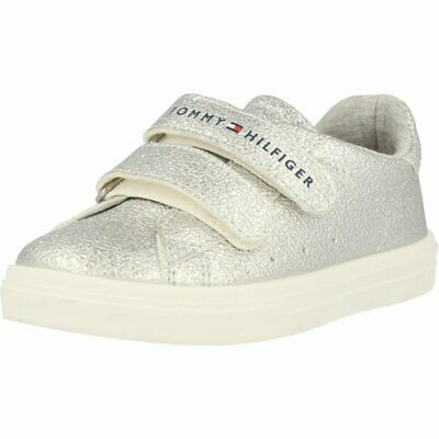 Tommy Hilfiger Trainer Silver Leather Infant Trainers Shoes