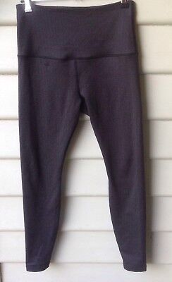 LORNA JANE Estimated SZ 8 Womens Leggings Grey Full Length Logo Herringbone EUC