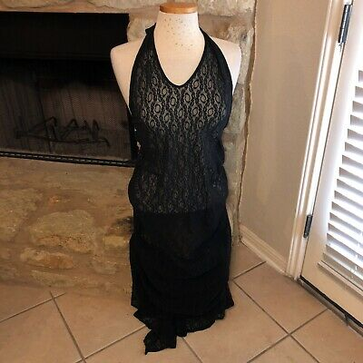 Vtg Victorias Secret Sheer Stretch Lace halter lingerie Long dress sz M