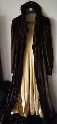 Original Vintage Brown Velvet Gown Cream Interior Victorian Style Steampunk Goth