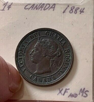 1884 Canada One Cent 1 Penny Copper Circulated Large Nice Coin