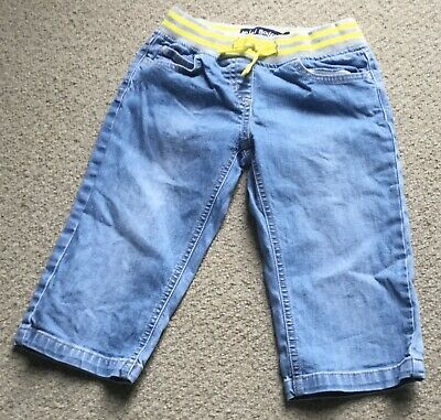 Mini Boden 7 year girl cropped trousers jeans shorts denim yellow pockets summer