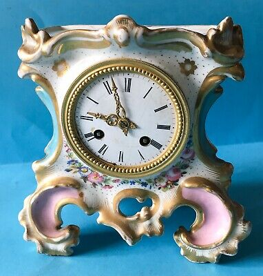 """Antique Porcelain Gilded Mantle Clock, Spares and Repairs, 8"""" (20cm) Tall."""