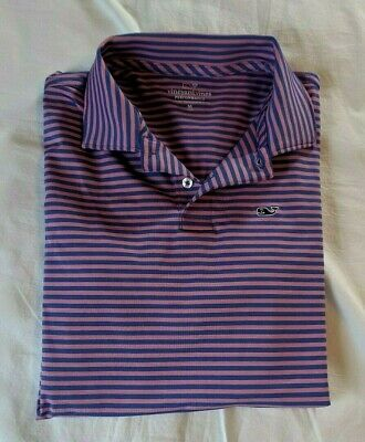 """Vineyard Vines Youth M (12-14) """"Performance"""" Pink/Blue """"Striped"""" S/S Polo Shirt"""