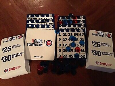 Chicago Cubs convention 2020 8 bingo cards with markers