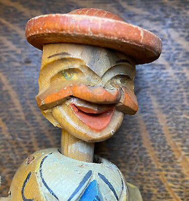 Anri Style Figural Carved Folk Art Mechanical Bottle Stopper Cup Sipper  Italy