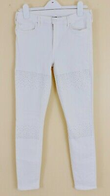 TRUE RELIGION MID RISE SUPER SKINNY Womens Sz 30 White Crystal Stud Jeans EXC