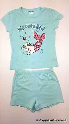 6-7 year Primark girls outfit set of top and shorts Mermaid pale blue