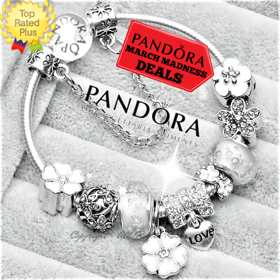Authentic PANDORA Bracelet Silver White Flowers MOM MOTHER with European Charms