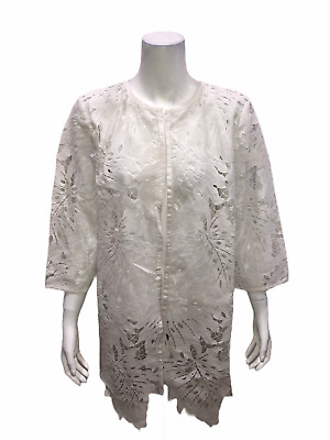 Dennis Basso Reg. Lace 3-4 Sleeve Topper with Sculpted Hem White Medium Size QVC