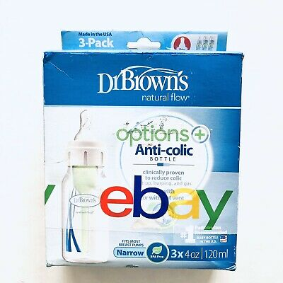 Dr. Brown's Natural Flow Options 3 Pk (4oz.120ml) Baby Bottles AntiColic 0m+new