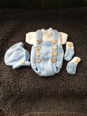 """Reborn Baby Doll Hand Knitted Blue Set For 10"""" Boy"""