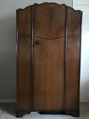 Vintage 1940s Small Walnut Wardrobe