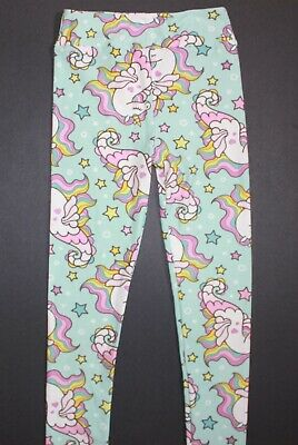 NWT LuLaRoe Leggings Kids L/XL SEAHORSE UNICORN Light Blue RARE !!